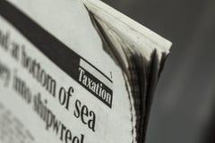 Journalist. Newspaper tv reporter newscaster pushing newspaper headline tabloid Royalty Free Stock Image