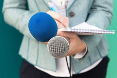 Journalist at media event. News conference. Reporter at media event. Press conference Royalty Free Stock Photo
