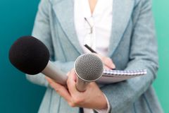 Journalist. Media interview. Press conference. Reporter. Press interview. News conference Royalty Free Stock Image