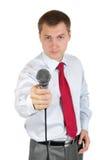 Journalist met microfoon Stock Afbeelding
