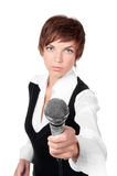 Journalist with microphone Stock Image