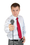 Journalist with microphone. Isolated on white background Stock Image