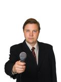 Journalist with microphone. Isolated on white background Royalty Free Stock Photography