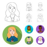A journalist with a microphone with a badge, a teacher with a pointer in beads, a stewardess in a pilot cap, an athlete. With a bandage on her head.People of royalty free illustration