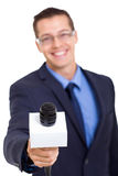 Journalist microphone interviewing Stock Photo