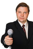 Journalist with microphone. Isolated on white background stock photos