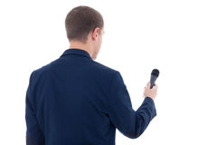 Journalist with microphone isolated on white background Stock Photo