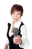 Journalist mit Mikrofon Stockbild