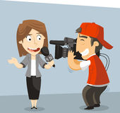 Journalist News Reporter Interview Stock Photo
