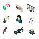 Journalist newspaper and tv journalism profession icons collection Stock Photos