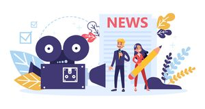Journalist occupation. TV reporter with microphone. Mass media. Profession. Newspaper, internet and radio journalism. Vector illustration in cartoon style vector illustration