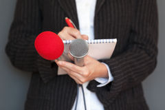 Journalist. Press conference. News reporting. Royalty Free Stock Photography