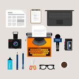 Journalist press icon objects  vector camera type writer laptop microphone interview recorder note newspaper pen pencil Stock Images