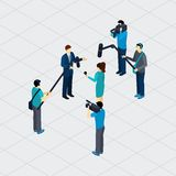 Journalist Profession Teamwork Isometric Banner. Journalist profession work situation making live tv reportage outdoor in urban area isometric banner abstract Stock Image