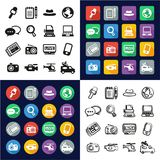 Journalist Or Reporter All in One Icons Black & White Color Flat Design Freehand Set Royalty Free Stock Images