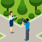 Journalist Reporter Profession Isometric Banner Stock Photo