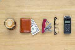Journalist travel set on the table. Royalty Free Stock Images