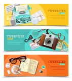Journalist Vintage Typewriter Banners. Three horizontal flat banners with vintage journalist typewriter and other tools for work isolated vector illustration Stock Photos