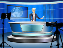 Journalist at work from tv studio Royalty Free Stock Image