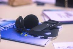 Journalist work with voice recorder. Journalist work at a book with a voice recorder stock photography