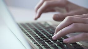 Journalist or writer typing text on laptop, using modern technologies for work. Stock footage stock footage