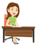 Journalist writing in notebook with pencil. Journalist sitting at the table and writing notes in notebook. Journalist writing an article. Journalist working at stock illustration