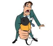 Journalista com um microfone Imagens de Stock