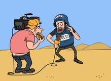 Journalista da guerra com operador cinematográfico Foto de Stock