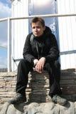 Journalista Dmitry Zykov durante a campanha dos defensores da floresta de Khimki Fotografia de Stock Royalty Free