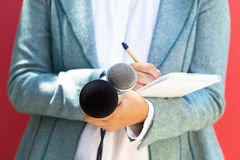 Journalista na conferência de imprensa, microfones no foco imagens de stock royalty free
