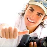 Journaliste avec l'appareil-photo Photo stock