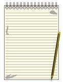 Journaliste rayé Notepad With Pencil Image libre de droits
