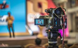 Journaliste visuel Broadcasting de Digital d'appareil-photo photographie stock libre de droits