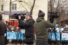 Journalisten am Paralympic-Fackellauf Stockfoto