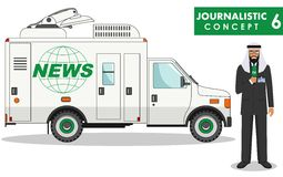 Journalistic concept. Detailed illustration of arabian muslim man reporter and TV or news car in flat style on white Stock Photo