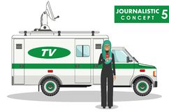 Journalistic concept. Detailed illustration of muslim woman reporter and TV or news car in flat style on white Stock Image