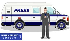 Journalistic concept. Detailed illustration of reporter and TV or news car in flat style on white background. Vector Stock Photos