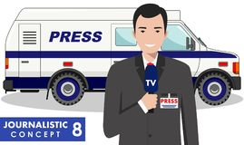 Journalistic concept. Detailed illustration of reporter and TV or news car in flat style on white background. Vector Royalty Free Stock Photos