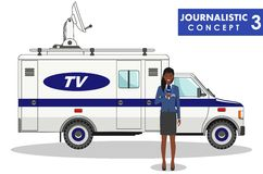 Journalistic concept. Detailed illustration of woman reporter and TV or news car in flat style on white background Stock Images