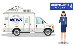 Journalistic concept. Detailed illustration of woman reporter and TV or news car in flat style on white background Royalty Free Stock Photos