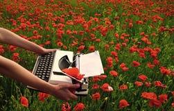 Journalistik- och handstilsommar Opiumvallmo, lättrörlig affär, ekologi royaltyfri foto