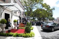 Journalists and Car Waiting, Portuguese Presidential Palace Honor Guard, Lisbon Stock Image