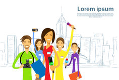 Journalists Crew, Woman Reporter with Team Live. News People Group with Microphones over Sketch City Skyscraper Vector Illustration Stock Photo