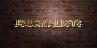 JOURNALISTS - fluorescent Neon tube Sign on brickwork - Front view - 3D rendered royalty free stock picture Stock Photos