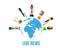 Journalists hands of journalists with microphones Stock Image