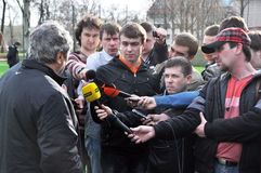 Journalists listen Lucescu Stock Photo