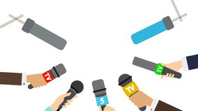 Journalists with microphones on white background. Breaking news concept. TV and radio broadcasting. Live. Last 90 frame seamles loop stock video