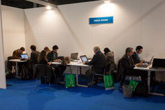 Journalists in the press room at Bit 2014, international tourism exchange in Milan, Italy Stock Images