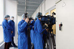Journalists during the press tour to the microelectronic plant Stock Images