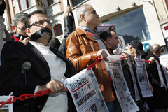 Journalists protest. ISTANBUL-MARCH 13: Journalists marched from Galatasaray Square to Taksim Square, demanding the release of arrested colleagues and better Royalty Free Stock Photo